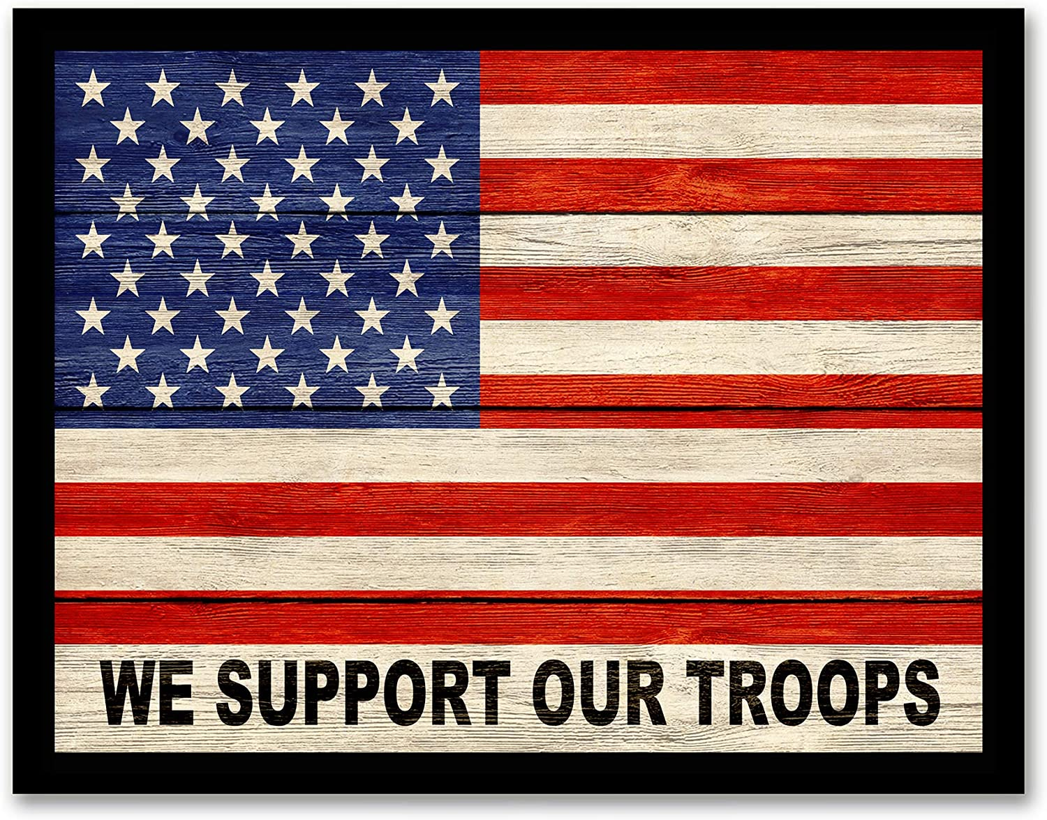 Amazon Com Usa Flag We Support Our Troops Framed Flag Decor Canvas Print Home Decor Wall Art Black Real Wood Frame 14x18 Wall Art