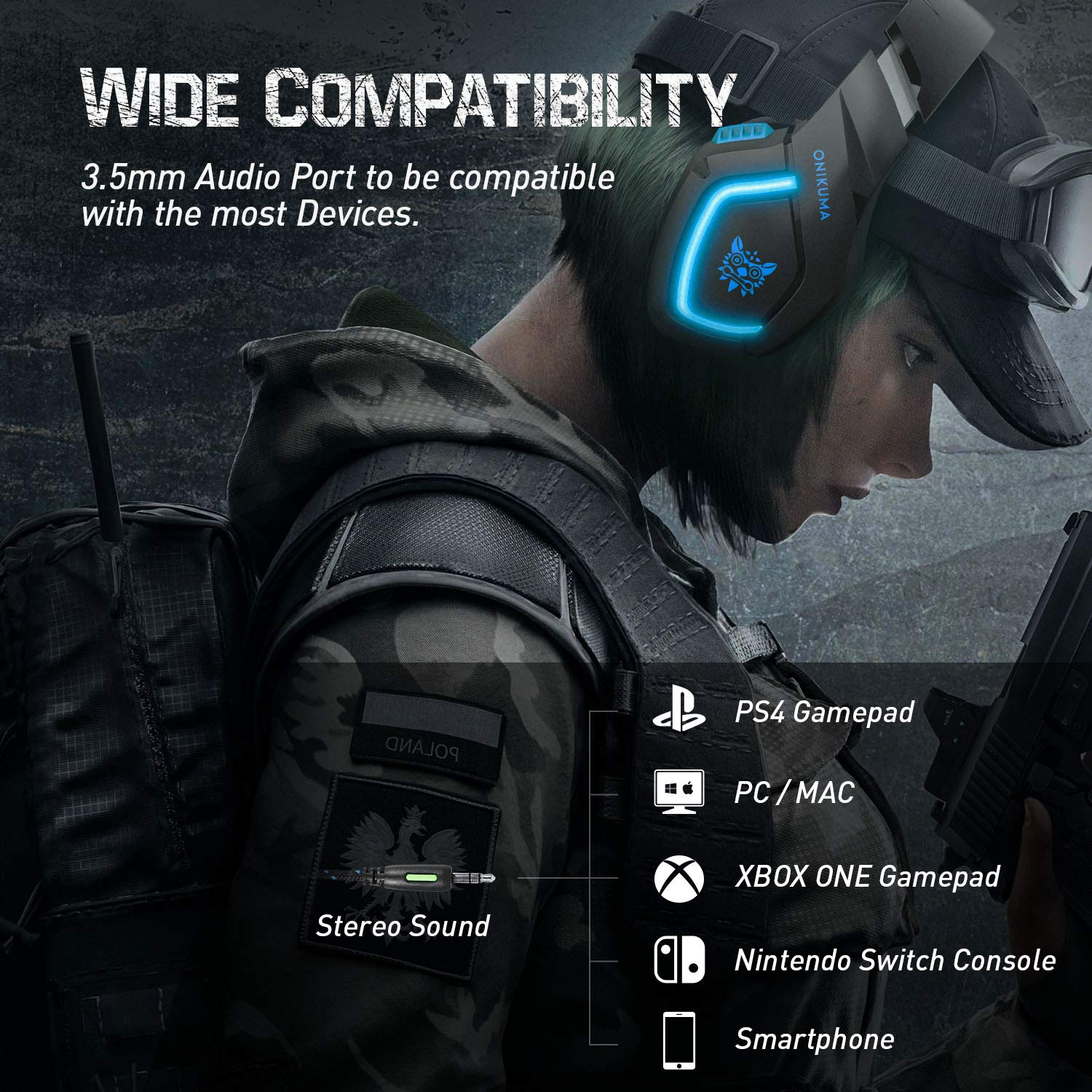 Gaming Headset with Stereo Sound Noise Cancelling Mic Over Ear Headphones for New Xbox One PC Mac OS PS4 Table Phone (K1B-Blue)