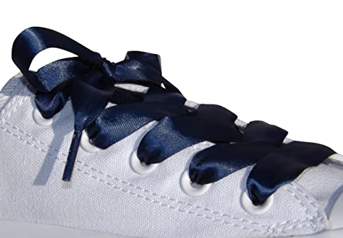 eba5f1f6d04e Amazon.com  Navy Flat Satin Ribbon Shoelaces