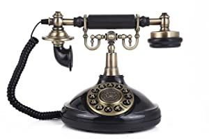 Classic Desk Phone with Push Botton for Home and office-1920Black