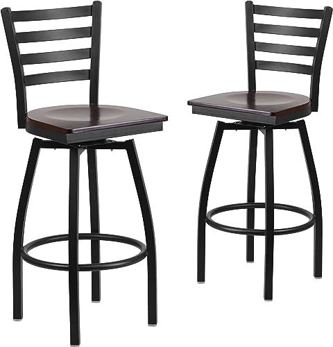 Flash Furniture 2 Pk. HERCULES Series Black Ladder Back Swivel Metal Barstool – Walnut Wood Seat