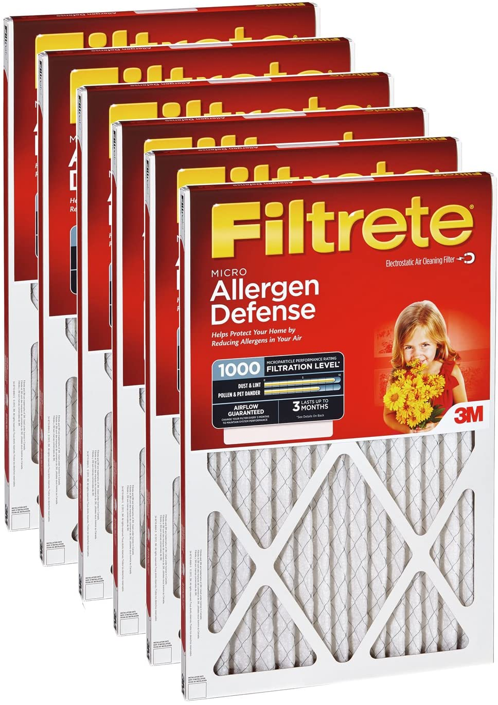 by 3m by Filtrete Pack of 6 14x20x1 MERV 3 Filtrete Air Filter