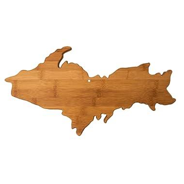 Totally Bamboo 20-8009UP Upper Peninsula Shaped Bamboo Serving & Cutting Board, Michigan