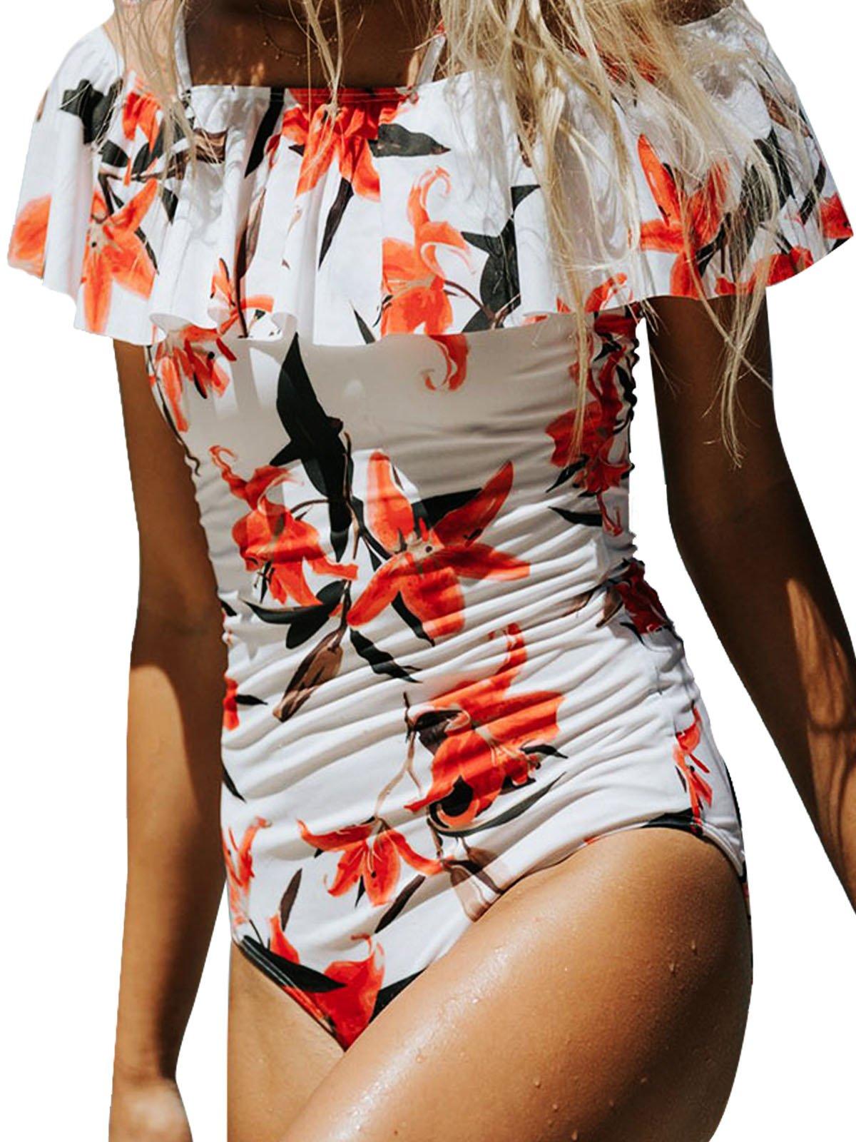 Bong Buy Fashion Womens One Pioece Flounce Monokini Padded Colorblock Off Shoulder Floral Bikini Swimsuit(white,M)
