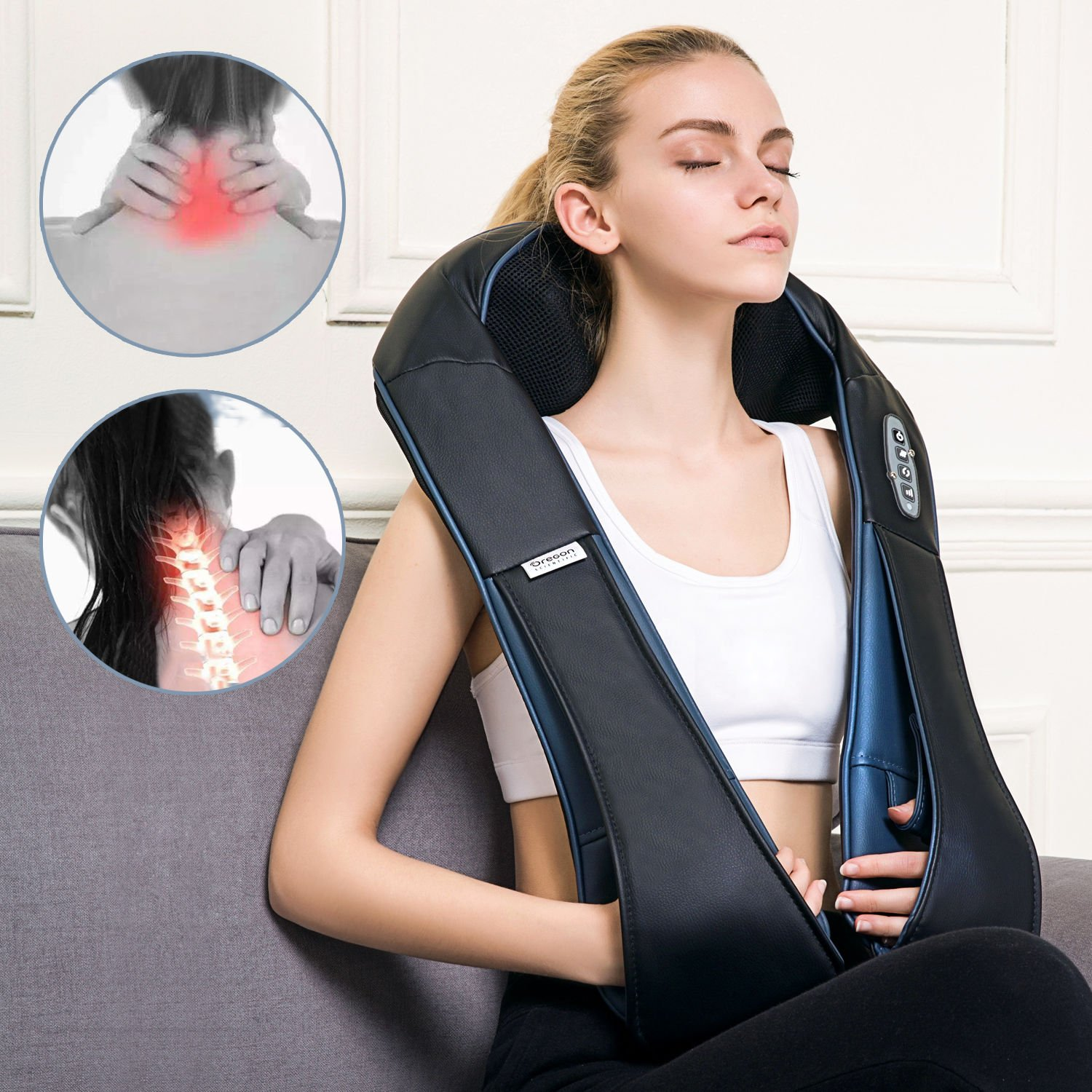 Neck and Shoulder Massager with Heat by Oregon Scientific, Adjustable Intensity and Deep Kneading Massager for Neck, Back, Shoulders