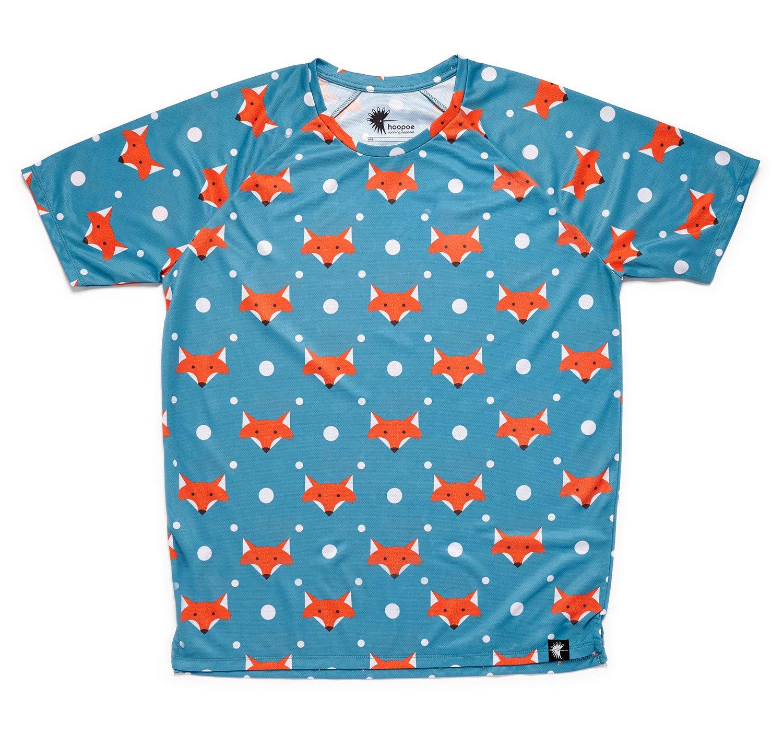 Camiseta Running Original Divertida Niño, Niña, Manga Corta, Gimnasio #FoxBlue
