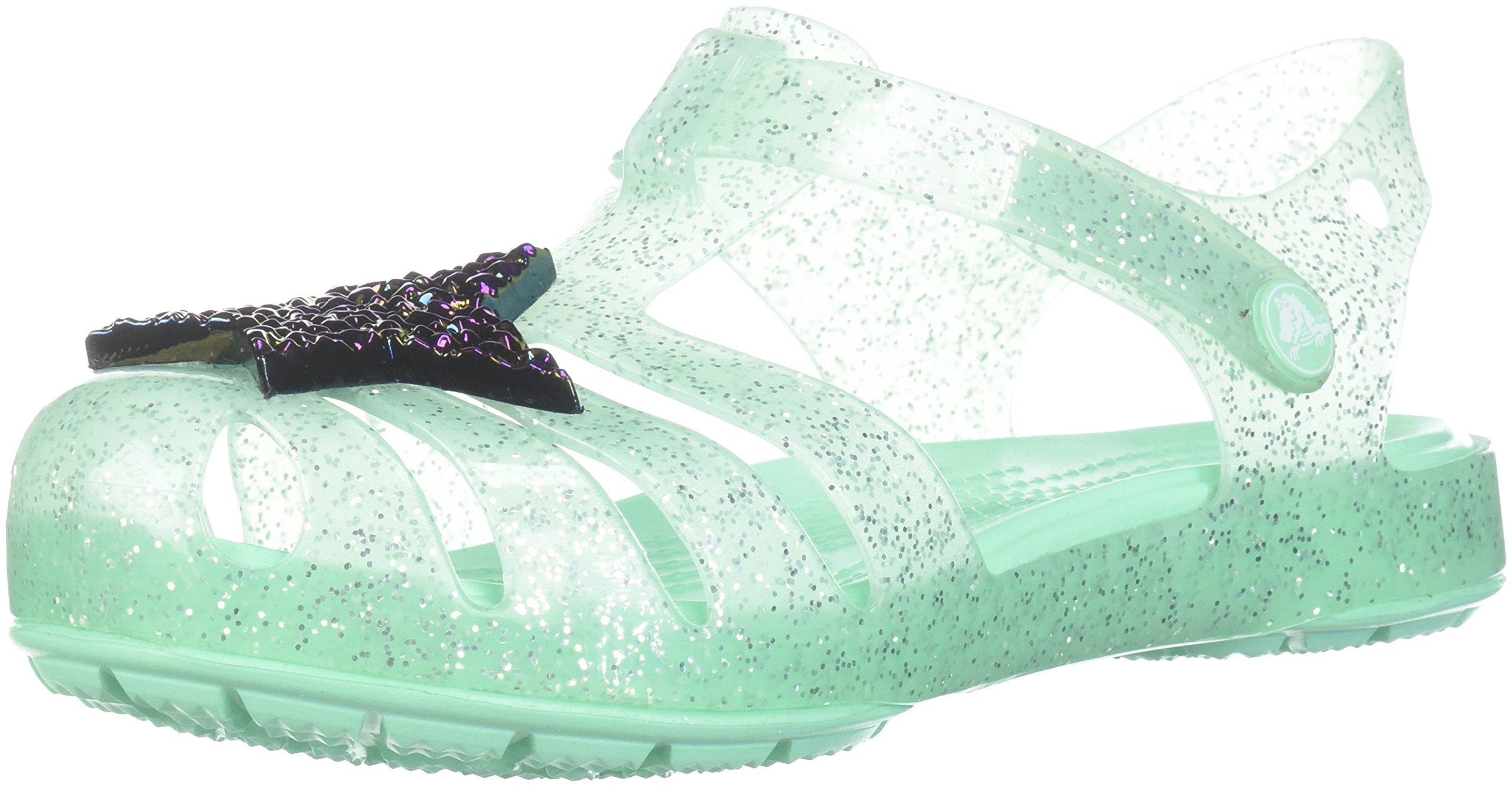 Crocs Girls' Isabella Novelty Flat Sandal, Mint, 13 M US Little Kid