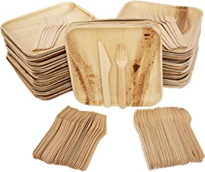 "Eco Only Disposable party pack of 150 | Eco-friendly Palm Leaf Plates with Cutlery | 50 Disposable 8"" Square Palm Leaf Plates, 50 Wood Forks, 50 Wood Knives Heavy Duty Biodegradable Party Utensils"