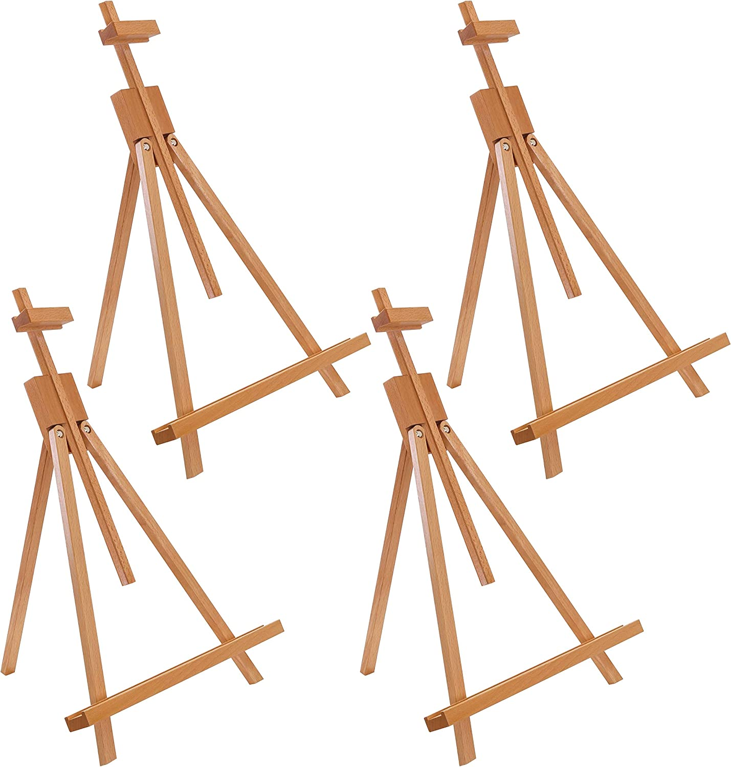 "U.S. Art Supply Topanga 31"" High Tabletop Wood Folding A-Frame Artist Studio Easel (Pack of 4) - Adjustable Beechwood Tripod Display Stand, Holds Up to 27"" Canvas - Portable Table Desktop Holder"