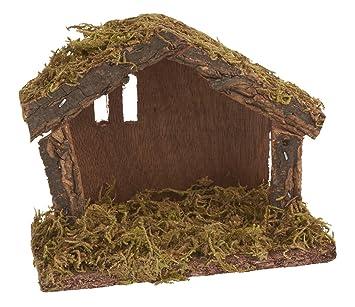 Weihnachtskrippe Selber Bauen.Vbs Mini Krippe Aus Holz Und Moos 14 5x11x6 5cm Weihnachtshäuschen
