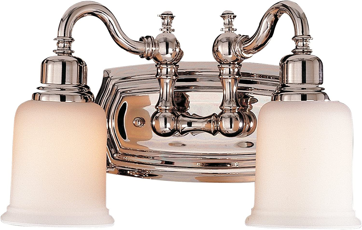 Feiss VS8002-PN Canterbury Glass Wall Vanity Bath Lighting, Chrome, 2-Light 14 W x 8 H 200watts