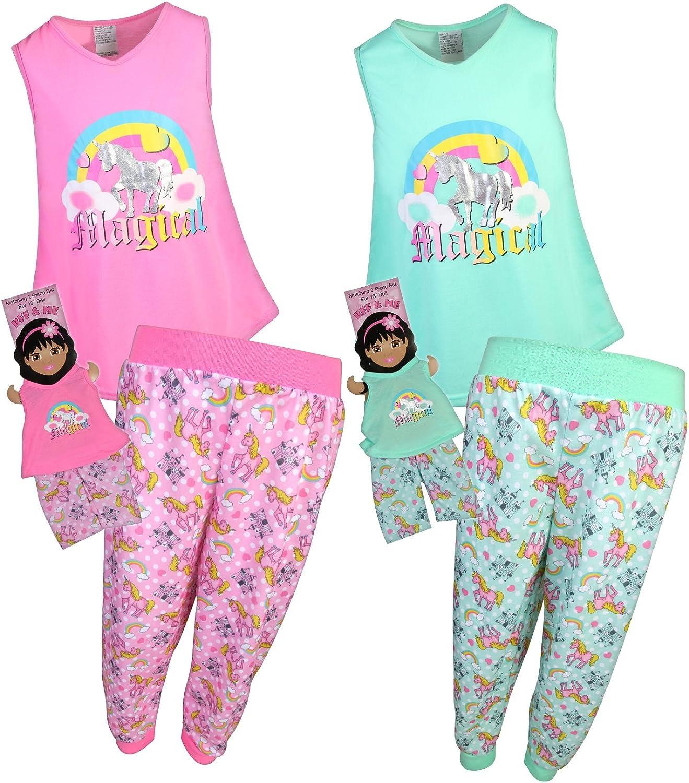 Long Sleeve T-Shirt and Fleece Jogger Sweatpants Sleepwear Set with Matching Doll Pajamas BFF /& Me Girls Pajamas