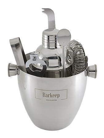 BARTENDER KIT Professional Cocktail Bar Set: Includes Manhattan Shaker,  Strainer, Jigger And Ice