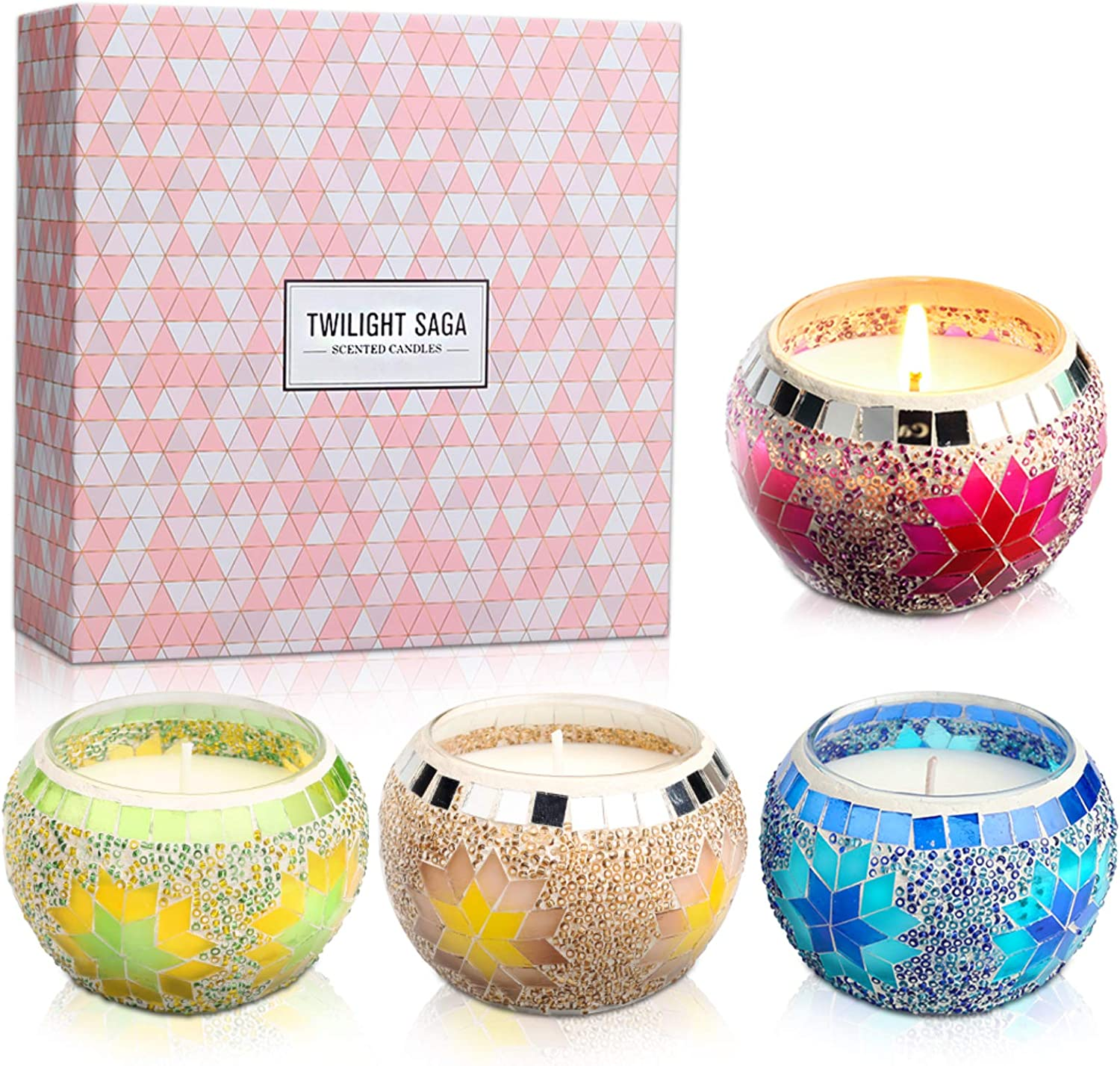 Luxury Scented Candles Gift Set, Handmade Mosaic Design Soy Wax 4.4 oz Lavender Jar Candles for Aromatherapy Stress Relax, Home Decor, Yoga Meditation Reiki, Women Gift Home Decoration