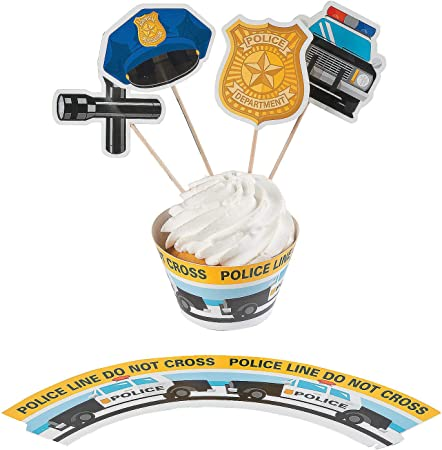 Fun Express - Police Party Cupcake Collars W/picks for Birthday - Party Supplies - Serveware & Barware - Misc Serveware & Barware - Birthday - 100 Pieces