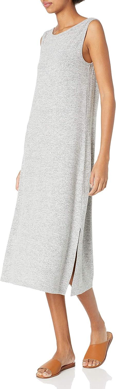 Amazon Brand - Daily Ritual Women's Cozy Knit Sleeveless Bateau Neck Midi Dress
