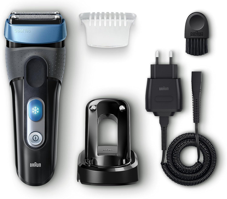 Braun CoolTec CT2s - Afeitadora eléctrica con tecnología Wet & Dry y sistema de enfriamiento activo de la piel y base cargadora, color negro y azul: Amazon.es: Salud y cuidado personal
