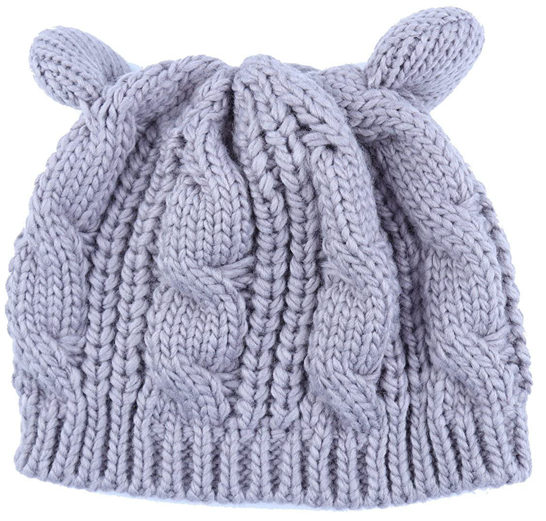 6811628f86b7f Womens Winter Thick Cable Knit Beanie Hat Cat Ear Crochet Braided Knit Caps