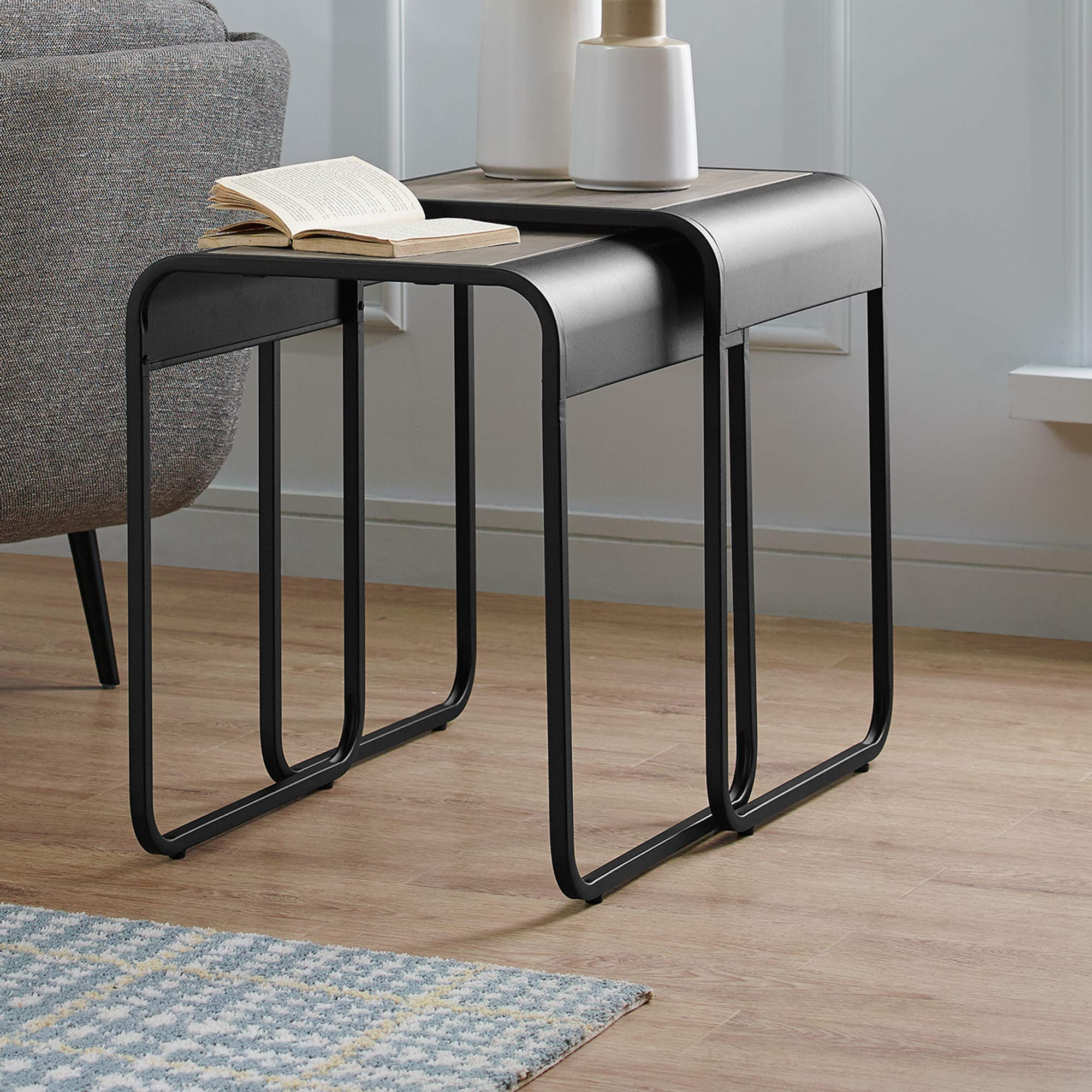 WE Furniture AZF18CURWSTGW Curved Wood and Metal Square Side Nesting Tables, Set of 2, Grey Wash/Black by WE Furniture