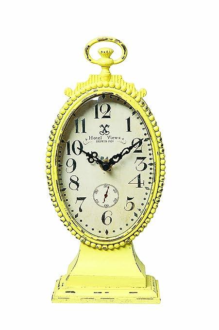 Amazon.com: Creative Co-op Metal Rustic Retro Table Clock, Yellow ...
