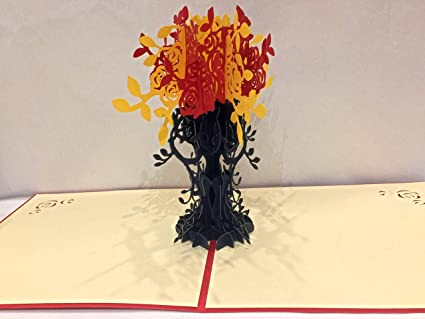Amazon sprinkles gifts laser cut 3d fall autumn yellow red sprinkles gifts laser cut 3d fall autumn yellow red flower flowers tree birthday greeting cards pop m4hsunfo