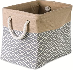 DII Collapsible Burlap Storage Basket or Bin with Durable Cotton Handles, Home Organizational Solution for Office, Bedroom, Closet, Toys, & Laundry (Medium - 16x10x12), Diamond Gray