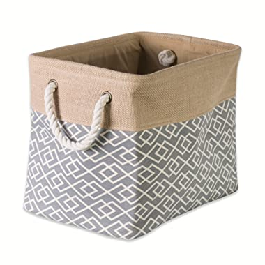 """DII Collapsible Burlap Storage Basket or Bin with Durable Cotton Handles, Home Organizational Solution for Office, Bedroom, Closet, Toys, & Laundry (Large – 18x12x15""""), Diamond Gray"""