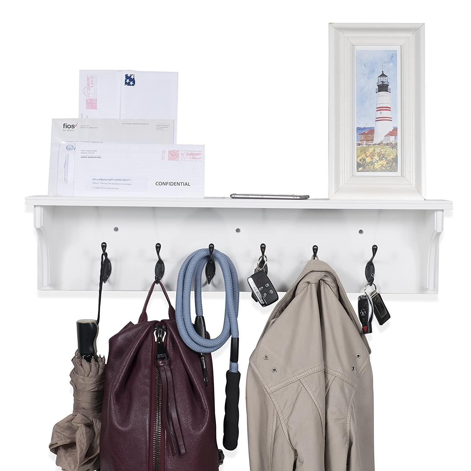 Solid Wood Entryway Organization Wall Mountable 30 Inch Coat Rack with 6 Hooks Walnut White