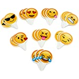 Popculta 24Pcs Cute Emoji Cupcake Topper Cake Decoration (Pack of 24)