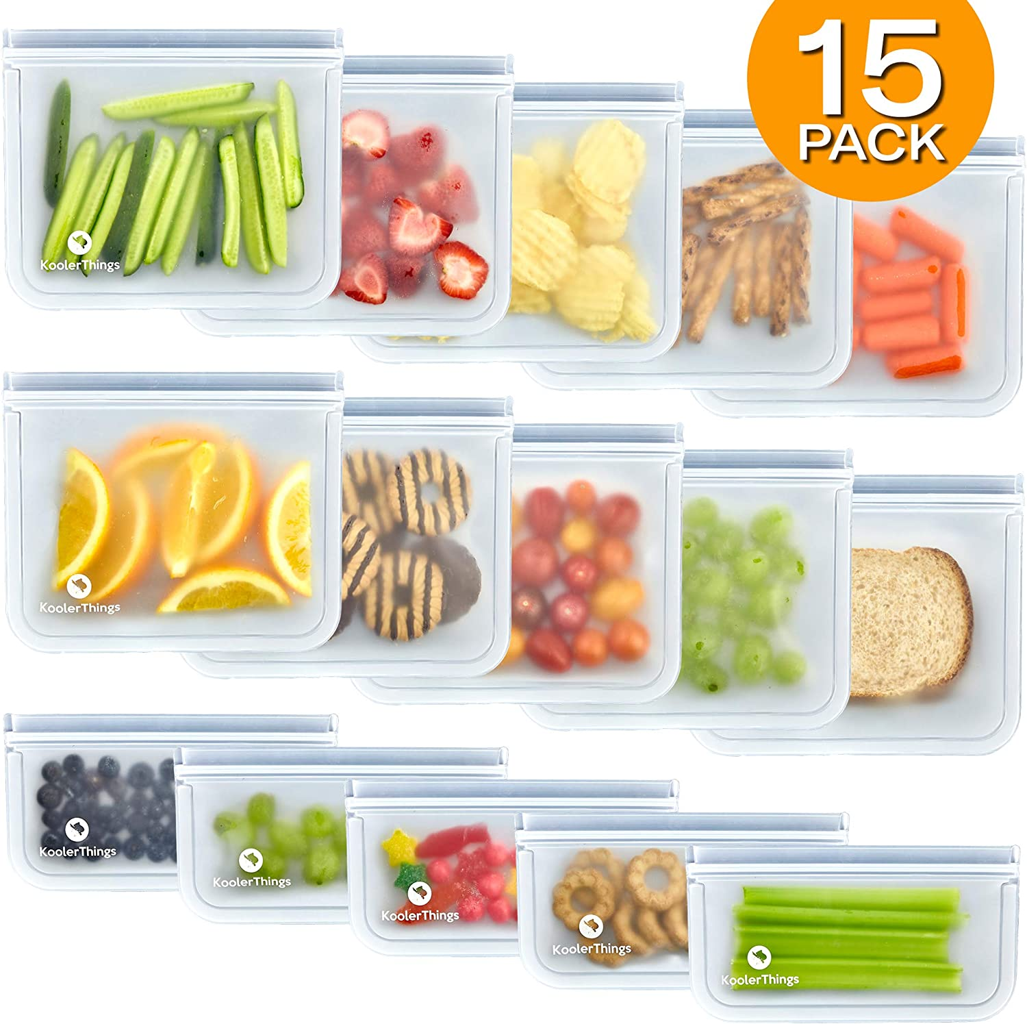 15 Pack FDA Grade Reusable Storage Bags (10 Sandwich & 5 Snack Bags), Leakproof Slicone & Plastic Free Lunch Bags, Food Grade PEVA Sandwich Bags and Snack Bags
