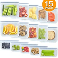 Reusable Storage Bags (10 Sandwich Bags), (5 Snack Bags), Waterproof, Freezer Safe, Leakproof Silicone, and Plastic Free Ziplock Lunch Bags