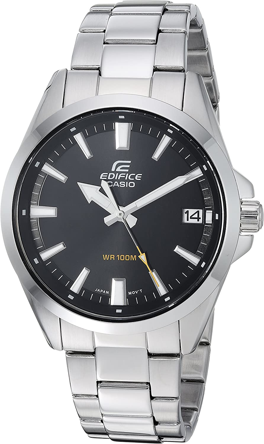 Casio Men's Edifice Quartz Watch with Stainless-Steel Strap, Silver, 19.7 (Model: EFV-100D-1AVCR)