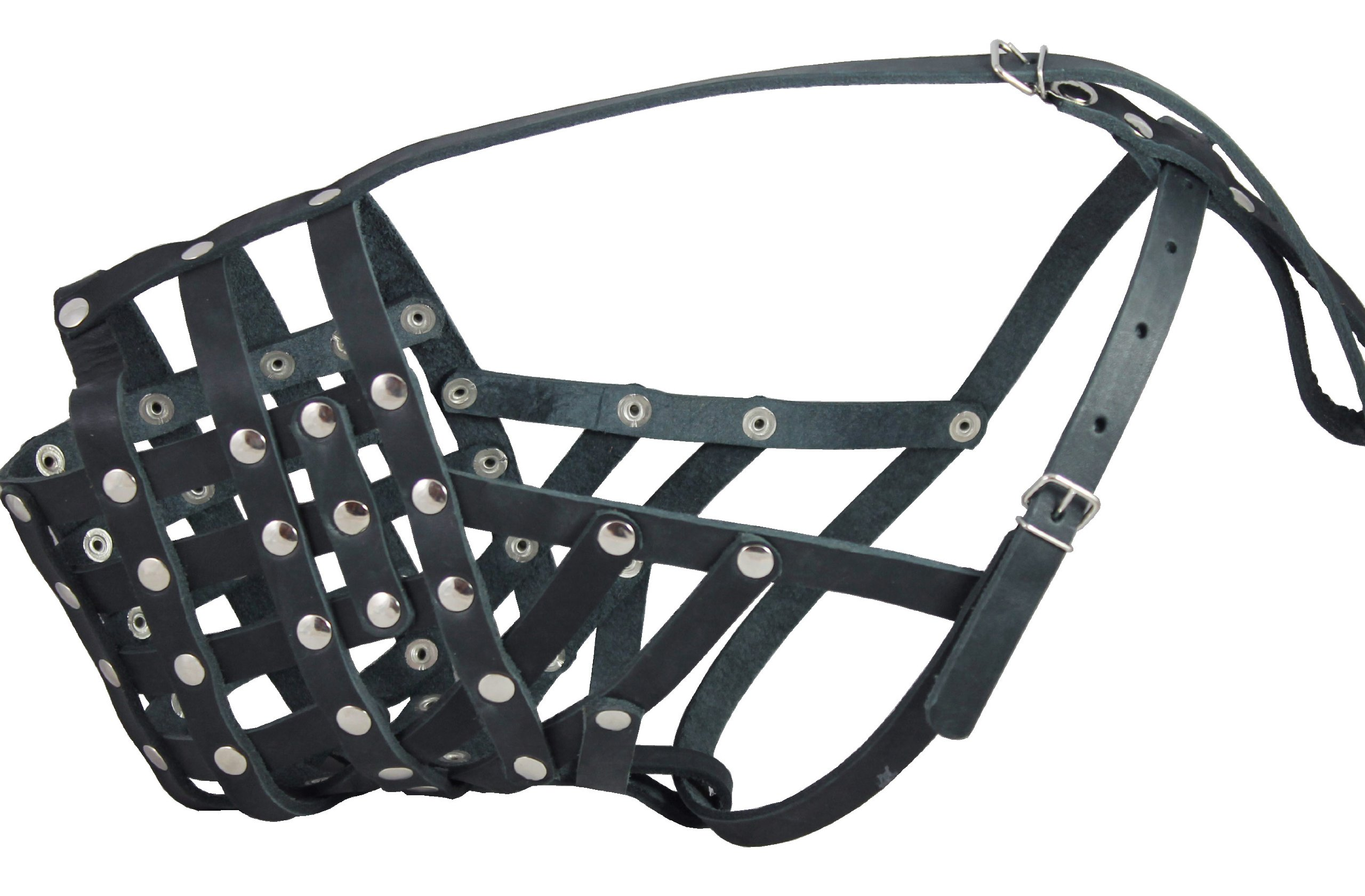 Real Leather Cage Basket Secure Dog Muzzle - Great Dane, Saint Bernard, Mastiff(Circumference 18.5'', Snout Length 4.7'')