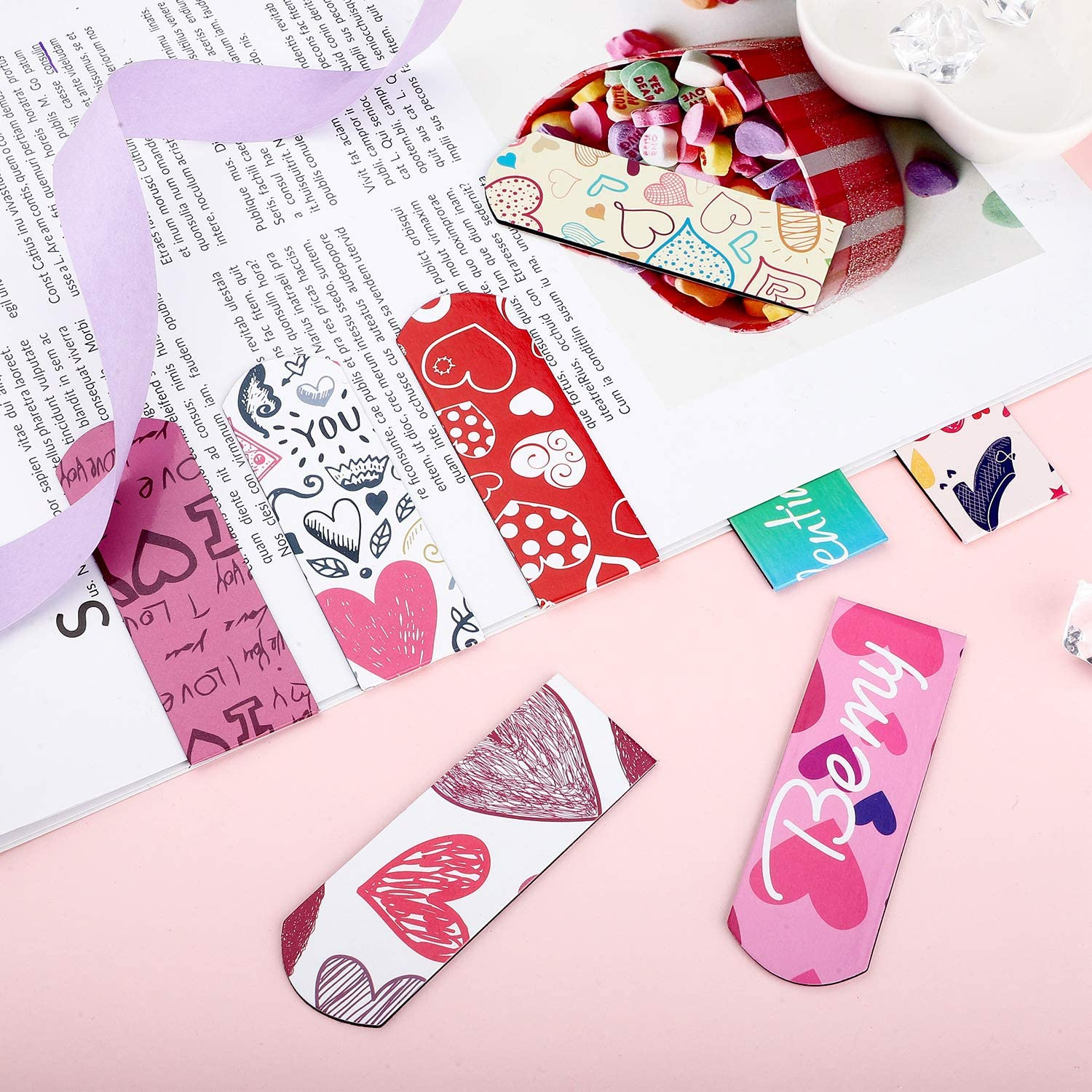 8 Styles 48 Pieces Valentines Day Magnetic Bookmark Cute Magnetic Page Markers for Valentines Day School Prizes