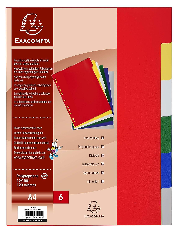Exacompta 3006E Divisori e Segnaletica, 21x29.7 cm, Multicolore