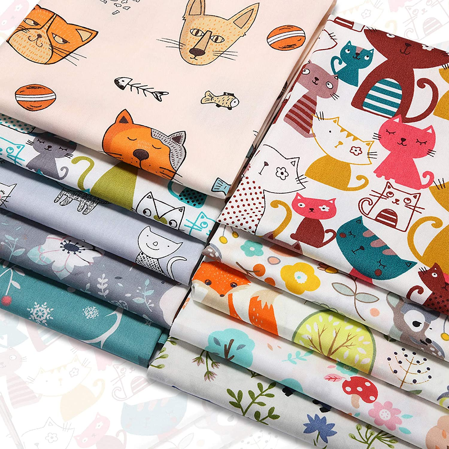 10 Pieces Animals Fat Quarters Fabric Bundles Cute Pattern Fabric Squares 20 x 20 Inch Printed Cat Dog Squirrel Elk Bear Sewing Fabric Scrap for Quilting Patchwork Scrabooking Cloth DIY Craft