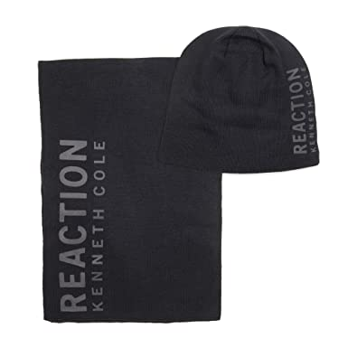 Kenneth Cole REACTION Men s Warm Winter Beanie Hat 7 Scarf Gift Set ... e0accc1598c