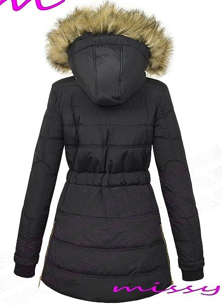 de3f84d0d4a2e MISSY - Manteau femme Hiver Capuche Matelassé Parka Militaire Fourrure neuf  - Noir, 40  Amazon.fr  Vêtements et accessoires