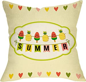 Fbcoo Summer Decorative Throw Pillow Cover, Watermelon Popsicle Pineapple Heart Cushion Case Decor Sign, Fruit Seasonal Home Square Outside Pillowcase Decorations for Sofa Couch 18 x 18 Cotton Linen
