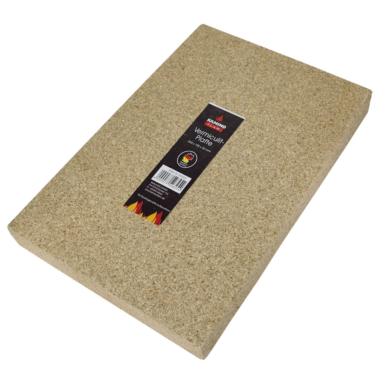 Kamino-Flam Vermiculite Fire Board, No Harmful Substances and Heavy Metals, Temperature-resistant up to 1,100°C, approx. 30x20x3cm