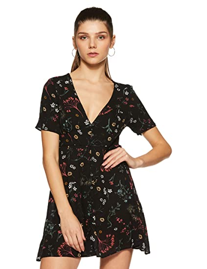 c80863c19 Forever 21 Women's A-Line Dress (234509, Black/Mauve, Small): Amazon.in:  Clothing & Accessories