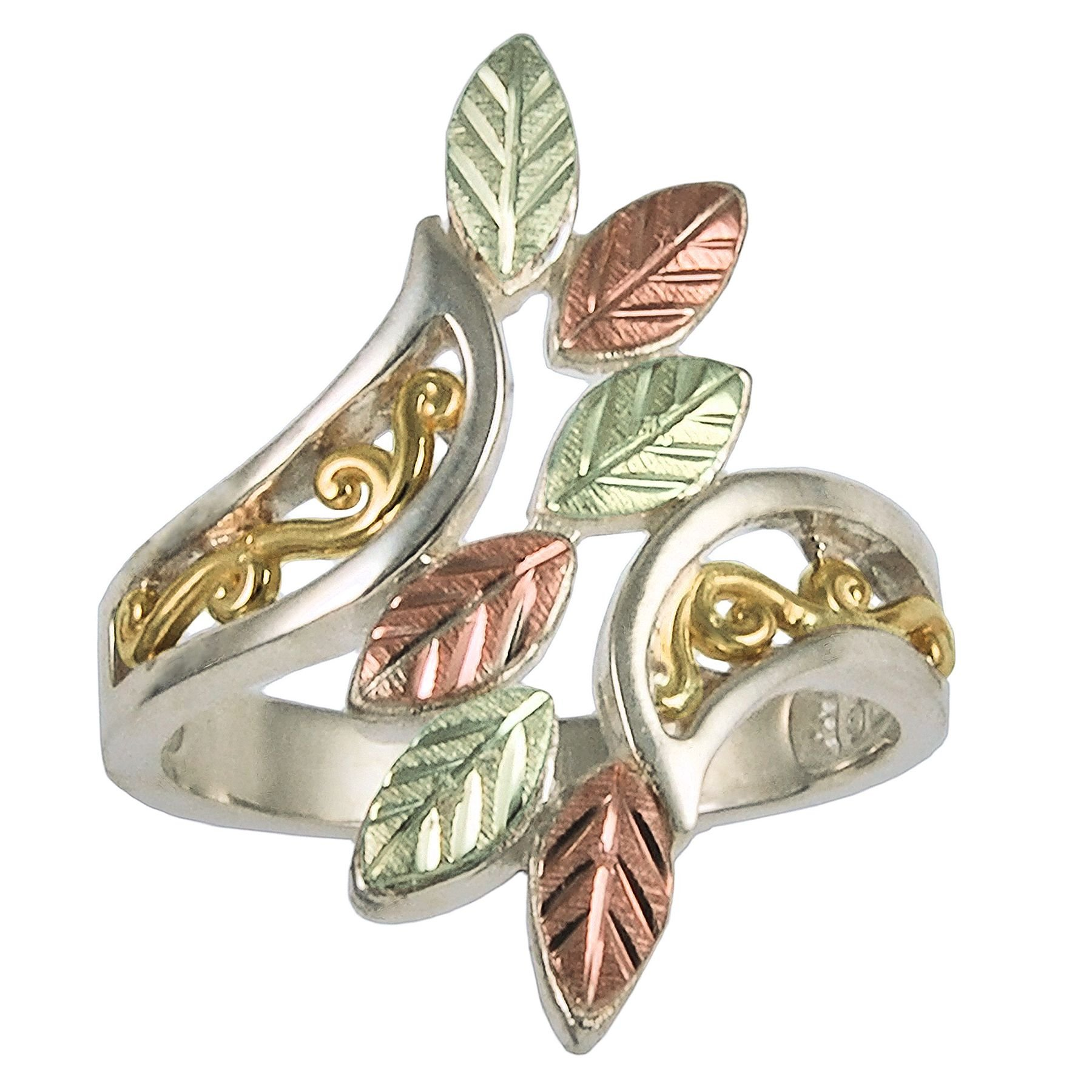 Sterling Silver Black Hills Ladies Ring with 10k Gold Accents and 12k Leaves