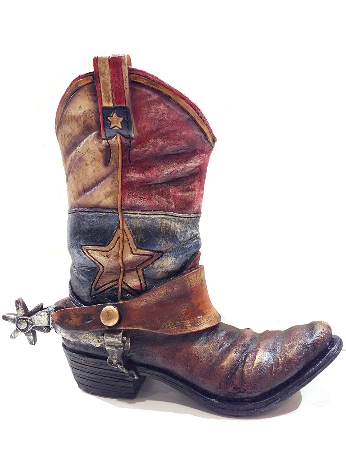 Texas Lone Star Cowboy Boot with Spur Vase Planter for Western Decor