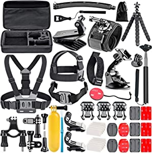 Navitech 50-in-1 Action Camera Accessories Combo KIt with EVA Case Compatible with The VIVITAR DVR786HD Action Camcorder