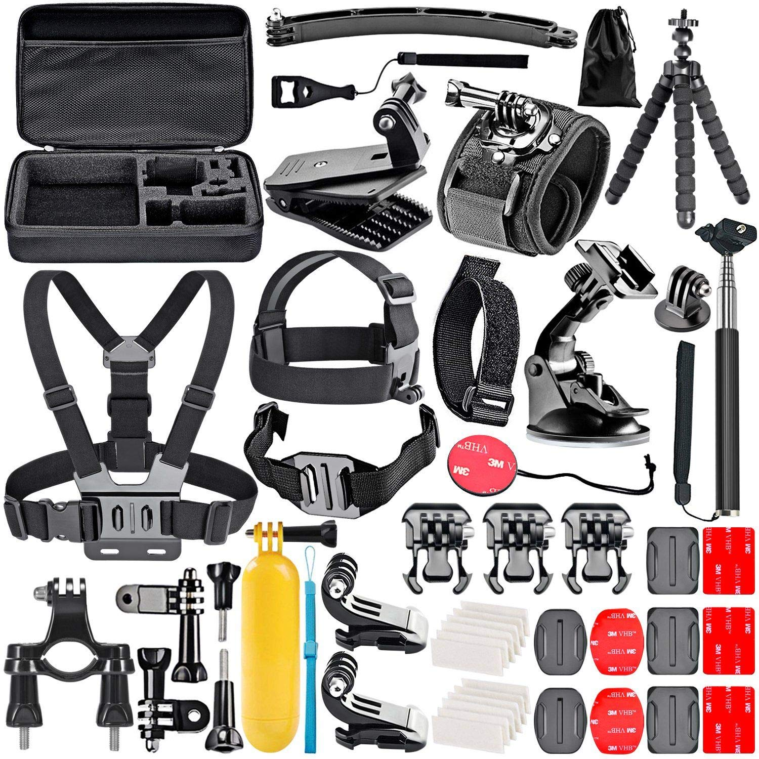 Navitech 9 in 1 Action Camera Accessory Combo Kit and Rugged Grey Storage Case Compatible with The Eken H9R Action Camera