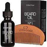 ZilberHaar Beard Oil №1 - Pure, Organic Moroccan Argan and Jojoba Oil for Natural Beard Growth and Hydration - 1 oz…