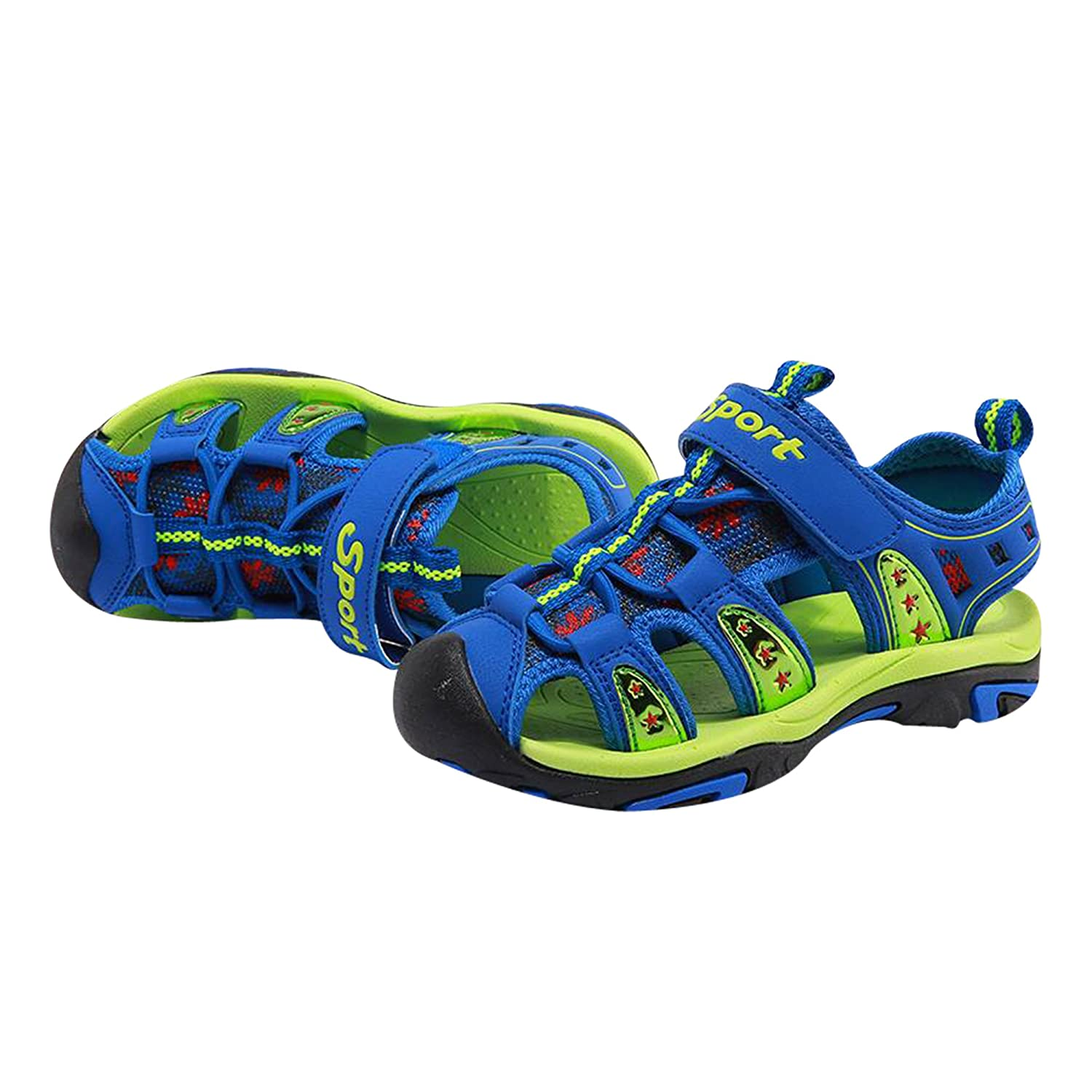 12 M Little Kid, Blue Green Toddler//Little Kid//Big Kid LV Enterprise Summer Beach Breathable Mesh Water Outdoor Athletic Quick Dry Closed-Toe Sandals