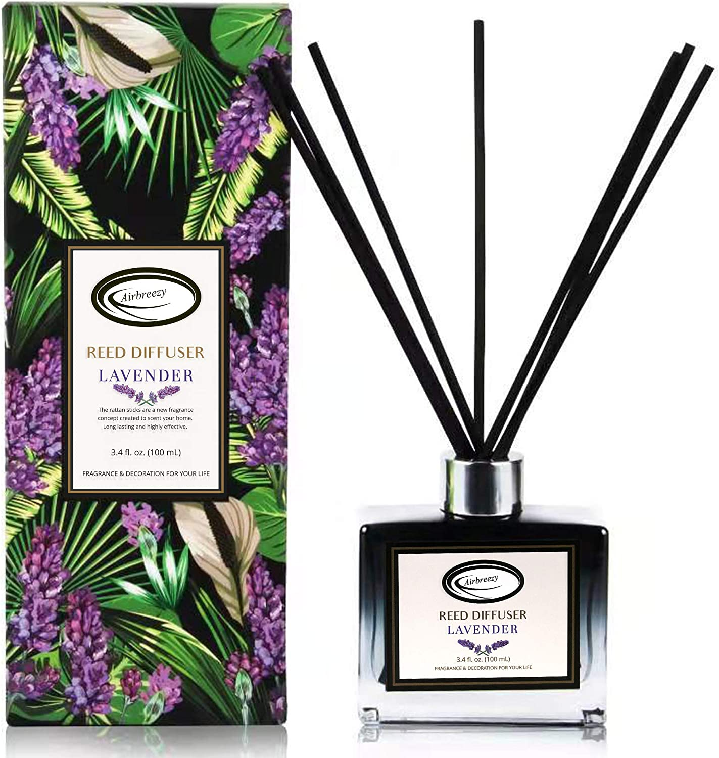 Airbreezy Fragrances Reed Diffuser Set with Sticks, Lavender Scent Incense Oil, Essential Oil Air Freshener for Home, Office, Gym, and Room Diffuser, 3.4 fl. oz