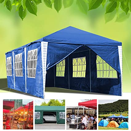 Hengda 3 x 9 m Jardin Tonnelle étanche Jardin Camping Stable tente tubes  d\'acier stable de haute qualité avec 6 parties latérales et 2 entrées  étanche