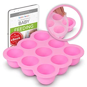 KIDDO FEEDO Baby Freezer Storage Tray with Silicone Clip-on Lid - BPA Free - 9x2.5oz portions - Free E-Book by Award-Winning Author/Dietitian - Pink